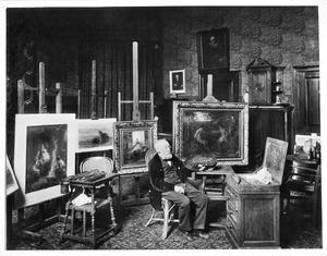 Jozef Israëls in zijn atelier aan de koninginnegracht 2, Den Haag