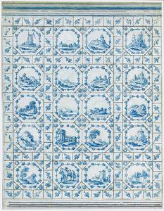Ontwerp voor een muurdecoratie met Delfts blauwe tegels