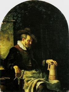 Oude man met een pijp en bierpul
