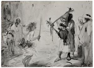 Danser met zwaard en muzikant