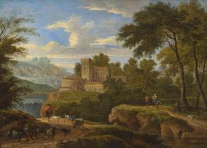 Italianiserend berglandschap met een herder, vee en reizigers, een kasteel in de achtergrond