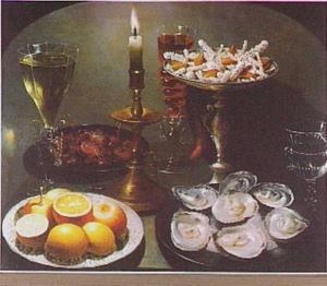 Stilleven in nis met kandelaar, oesters, citroenen, tazza met snoepjes en glaswerk