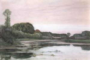 Geinrust farm with isolated trees under pink sky