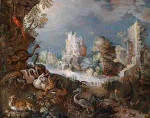 Bosachtig rivierlandschap met allerlei vogels; ruïnes op de achtergrond