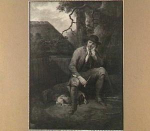 Rustende houthakker met aan zijn voeten een slapende hond