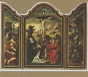 De H. Hieronymus in de woestijn (links), de kruisiging (midden), de H. Franciscus ontvangt de stigmata (rechts)