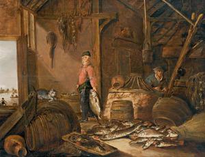 Interieur van een schuur met een stilleven van vissen en twee mensen die vis schoonmaken