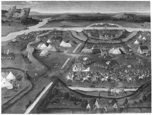 De slag bij Pavia in 1525 met rechts in de voorgrond de gevangenneming van koning Frans I