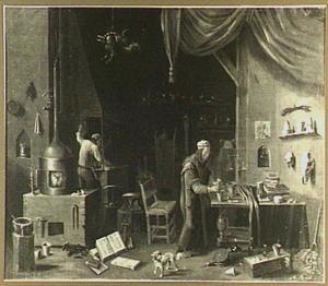Alchemist in zijn werkplaats