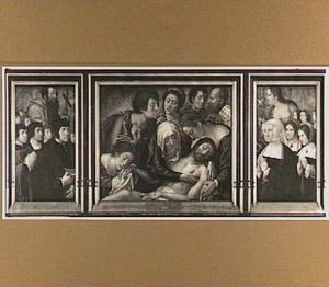 Portret van Philippe Haneton met zijn zeven zonen en de H. Philippus; de bewening; portret van Marguerite Numan, echtgenote van Philippe Haneton, met haar vijf dochters en de H. Margaretha