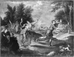 De wedstrijd tussen Atalanta en Hippomenes