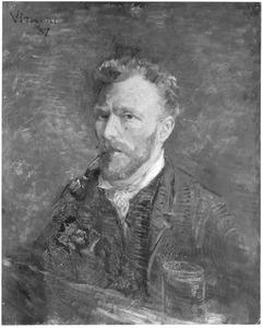 Zelfportret met pijp en glas