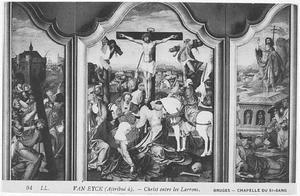 De kruisdraging (links); de kruisiging (midden); de opstanding (rechts)