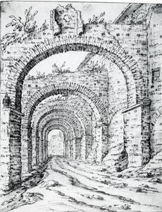 Zicht op Clivus Scauri te Rome