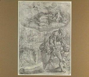 Pietas: Aeneas verlaat Troje met zijn vader Anchises en zijn zoontje Ascanius; links: Caritas Romana