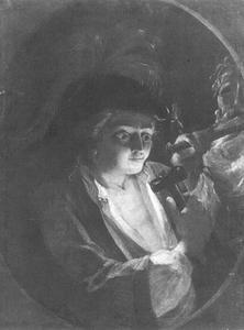 Jonge man beeldhouwt een borstbeeld