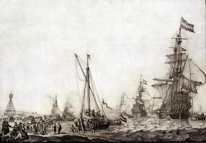 Het uitzeilen van de Hollandse vloot van de Vlieree op 9 juni 1645