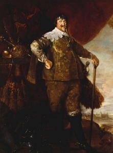 Portret van Christian IV, koning van Denemarken (1577-1648) met uitzicht op de Sont met Kronborg