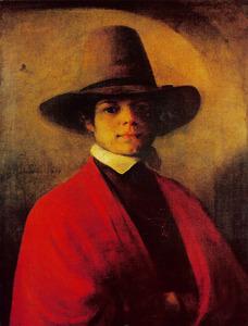 Zelfportret met grote hoed