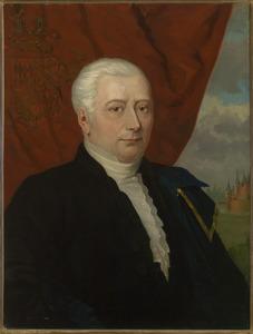 Portret van Willem  Schuyl van der Does (1767-1813), op de achtergrond huis Ter Does te Leiderdorp