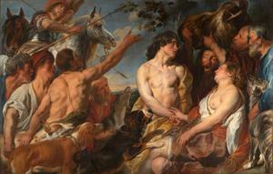 Plexippus en Toxeus ontroven Atalanta de kop van het everzwijn haar door Meleager geschonken (Ovidius, Met. VIII, 260-444)