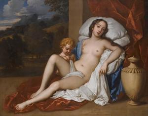 Portret van jonge vrouw en kind als Venus en Cupido, waarschijnlijk Nell Gwyn