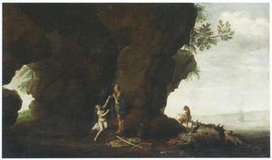 Rotskust met de bevrijding van Andromeda door Perseus