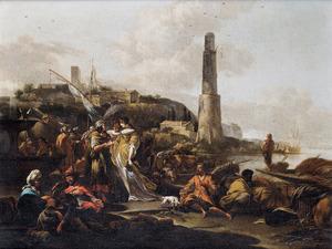 Gezicht op een mediterrane haven met een waarzegster