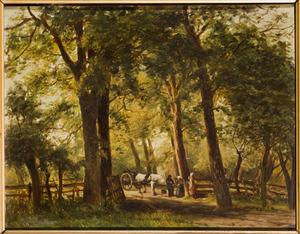 Boslandschap met paard-en-wagen