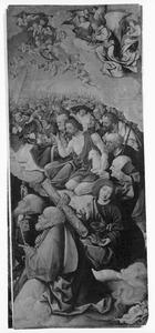 Johannes de Doper omgeven door engelen en heiligen
