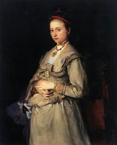Portret van Wilhelmine Gedon, vrouw van de beeldhouwer en architect Lorenz Gedon
