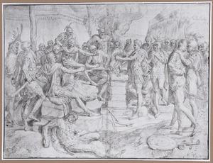 Mucius Scaevola steekt zijn arm in het vuur voor Porsenna