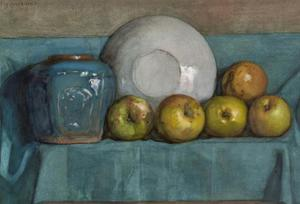 Apples, ginger pot and plate on a ledge