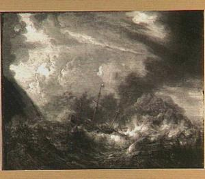 Zeegezicht met schip in storm