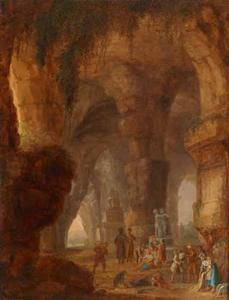 Interieur van een grot met een rustend gezelschap