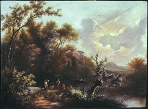 Bebost landschap met herders in de bocht van een weg
