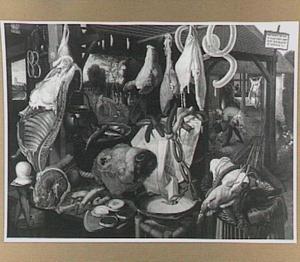 Vleesstal met in de achtergrond de vlucht naar Egypte (Mattheus 2:14)