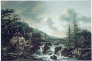 Berglandschap met enkele huizen en een herberg bij een waterval