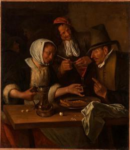 Figuren rond een tafel in de herberg
