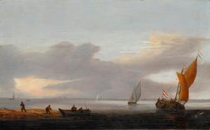 Kalme zee met vissersboten