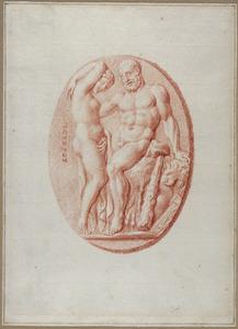 Romeinse camee met Hercules en nymf