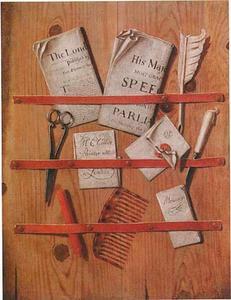 Trompe-l'oeil van een brievenbord met schrijfgerei, documenten en een kam
