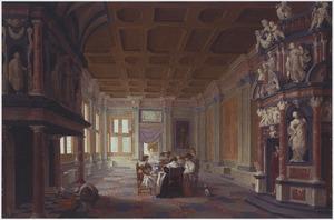 Elegant dinerend gezelschap in een rijk gedecoreerde zaal