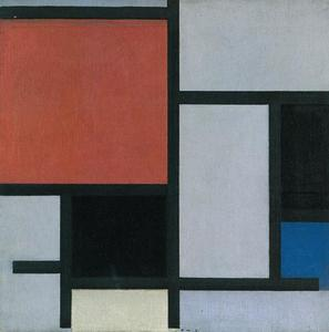 Composition with large red plane, black, blue, yellow and gray