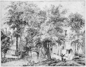 Het Zwarte Water met de Lauwerechtbrug in de Bemuurde Weerd bij Utrecht