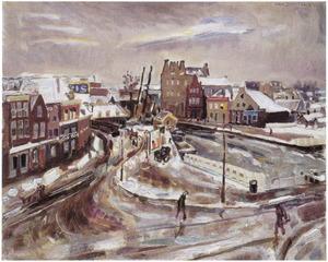 Gezicht op de Schinkelkade bij de Overtoom te Amsterdam, in de winter