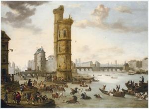 Gezicht op Parijs: Drenkplaats in de Seine bij de Tour de Nesle met in het verschiet de Port de Nesle en de Pont Neuf