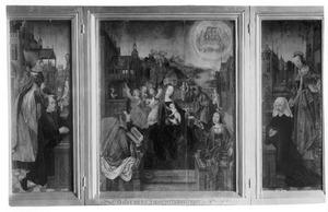 Drieluik met de stichter en de H. Martinus van Tours (links), de H. Familie, sybillen en musicerende engelen (midden), de stichtster en de H. Cunera (rechts)