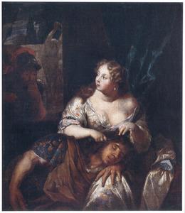 Delila knipt de slapende Simson de haren af  (Richteren 16:17)