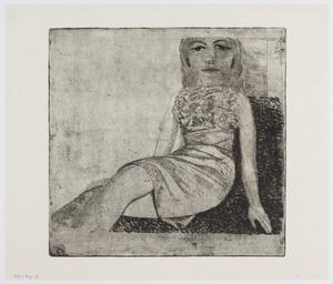 Portret van Margreet zittend
